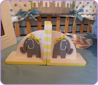 Hand Painted Bookends Elephants Grey and Yellow