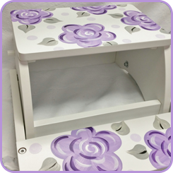 Hand Painted Large Step Stool Lavender Fun Flowers